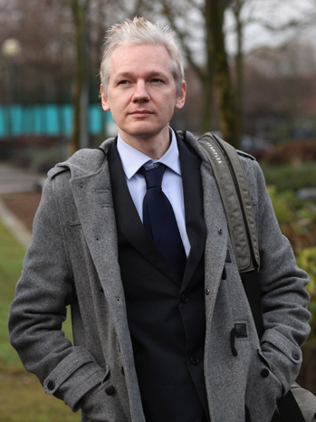 Julian Assange Walking Outside