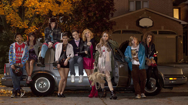 Skins MTV Group Outside Car