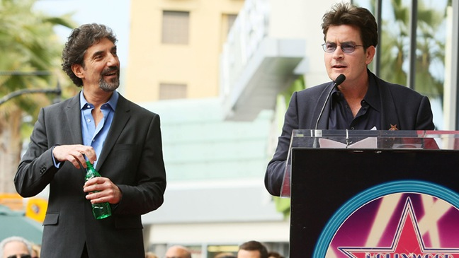 Chuck Lorre & Charlie Sheen - Hollywood Walk Of Fame - 2009