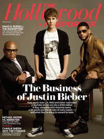 Justin Bieber, LA Reid, Usher - Hollywood Reporter - COVER