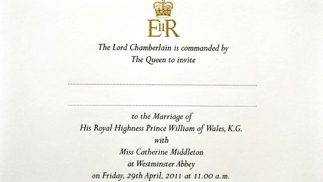 Prince William & Catherine Middleton Invitation - 2011
