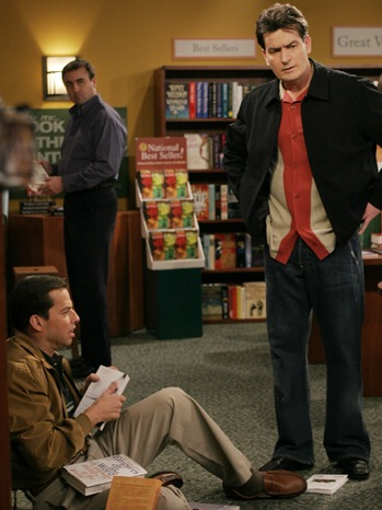 Charlie Sheen - Two and a Half Men - TV Still: w Jon Cryer -  2006