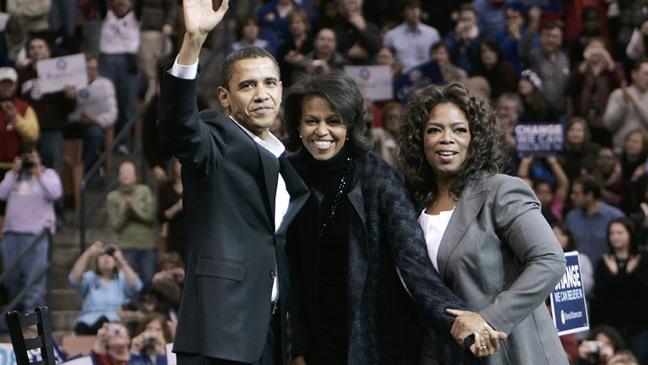 Barack Obama, Michelle Obama, Oprah Winfrey- campaign rally - 2007