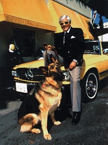 22 STY HAYMAN Fred Hayman Outside His Famous Store With His Alsatian