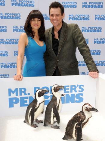 Carla Gugino Jim Carrey Penguins Premiere 2011