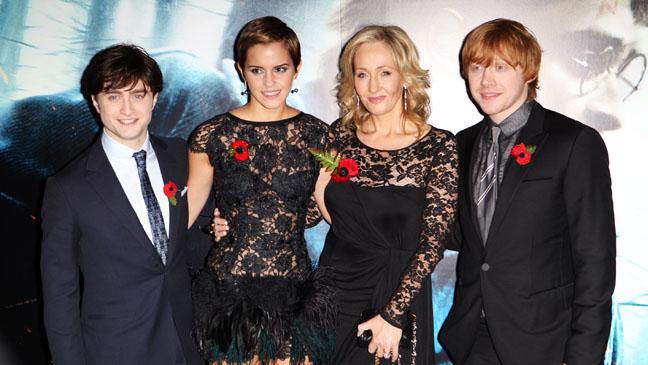 Daniel Radcliffe, Emma Watson, J K Rowling and Rupert Grint