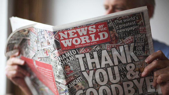 "Final edition of ""News of the World Cover"""