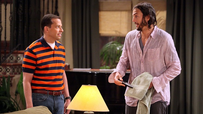 "Two and a Half Men - TV Still: ""Nice To Meet You, Walden Schmidt"" - Jon Cryer, Ashton Kutcher - h - 1 -2011"