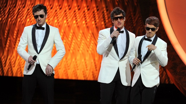 Akiva Schaffer, Andy Samberg, Jorma Taccone of The Lonely Island - perform onstage during the 63rd Annual Primetime Emmy Awards - H - 2011