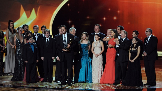 The cast & crew of 'Modern Family' - Accept the Outstanding Comedy Series award onstage during the 63rd Annual Primetime Emmy Awards - H - 2011
