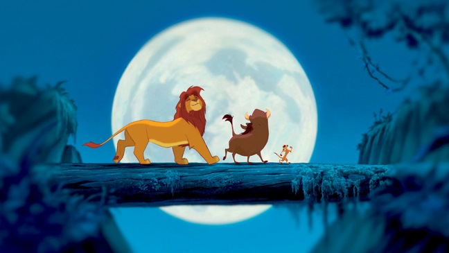 Lion King - Movie Still: animals dancing in front of moon - H - 1994