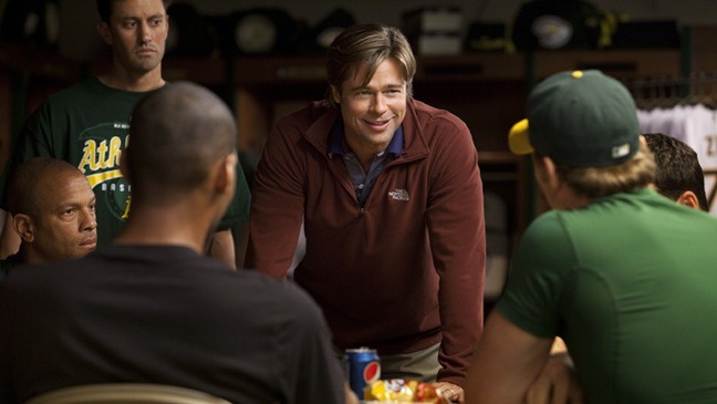 Moneyball - Movie Still: Brad Pitt with Group - H - 2011