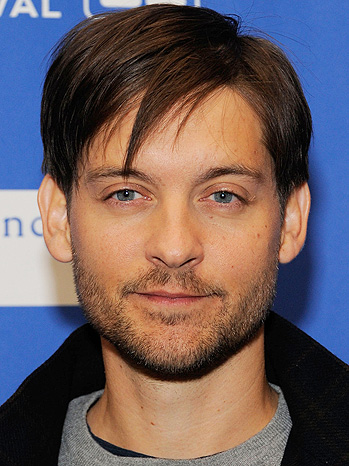 AT THE BIG GAME: Tobey Maguire