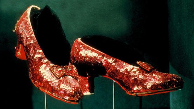 """red ruby shoes worn by Judy Garland as Dorothy in """"The Wizard of Oz"""" - H - 1983"""