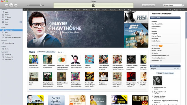 The iTunes store for music and videos