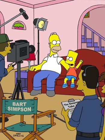 The Simpsons - Bart Simpson, Homer Simpson on set - animated art - P - 2011