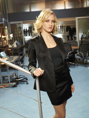 Yvonne Strahovski Chuck Black Suit Portrait - P 2011