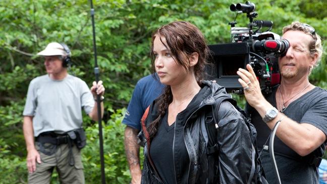 Hunger Games - Movie Still: BTS Jennifer Lawrence - H - 2011