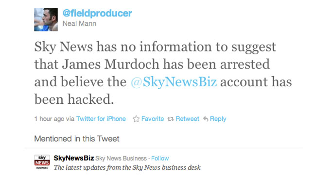 Sky News Hacked Tweet 111211 Screenshot - H