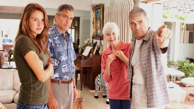 The Descendants - Movie Still of George Clooney, Robert Forster, Shailene Woodley and Barbara L. Southern - H - 2011