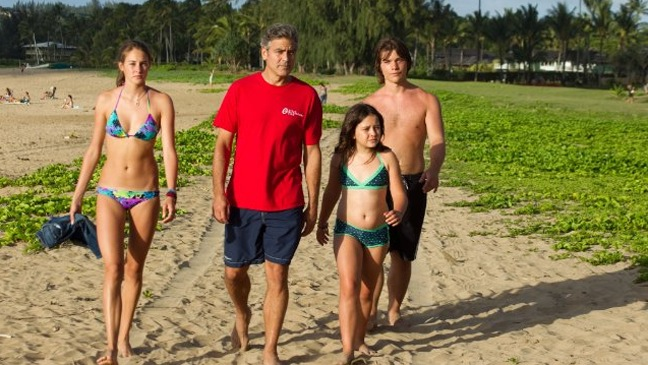 The Descendants - Movie Still of George Clooney, Shailene Woodley, Nick Krause and Amara Miller - H - 2011