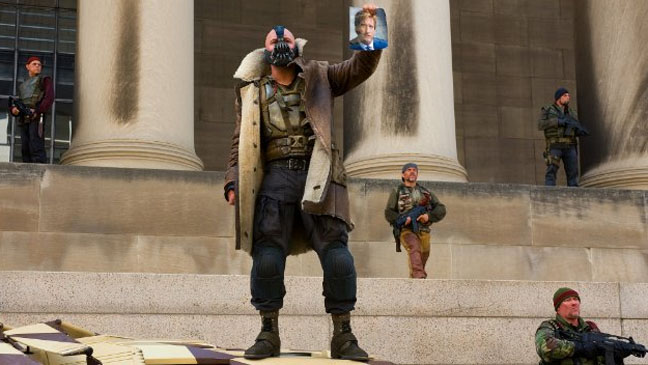 The Dark Knight Rises Tom Hardy Bane Court House Still - H 2011