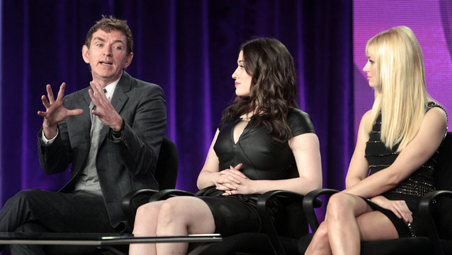 Michael Patrick King with Kat Dennings and Beth Behrs