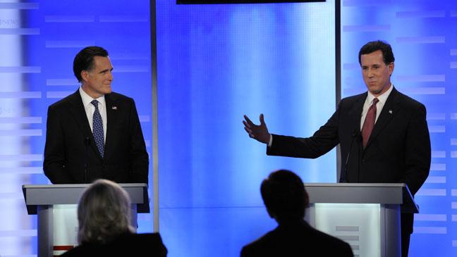 Republican Debate Jan 7 2012 Romney Santorum