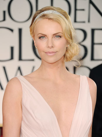 69th Golden Globes Charlize Theron Red Carpet Headshot - P 2012