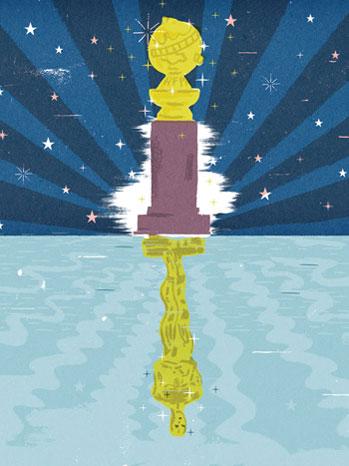 Golden Globe Oscar Statue Refection Illustration - P