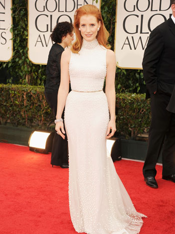 69th Annual Golden Globes Jessica Chastain Red Carpet - P 2012