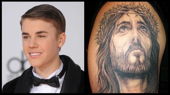 Justin Beiber Jesus Tattoo Split - H 2012