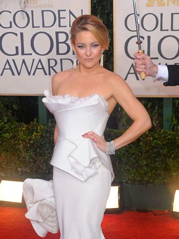 Kate Hudson Golden Globes White Marchesa Gown - P 2012