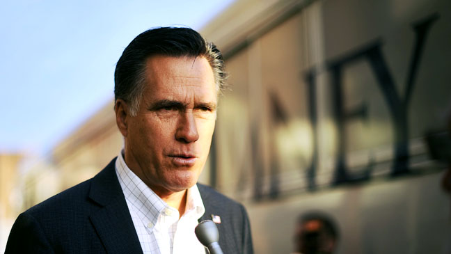 Mitt Romney Outside Campaign Bus - H 2012