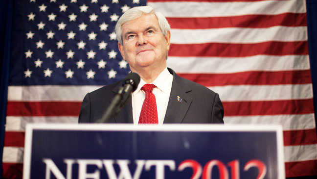 Newt Gingrich at Campaign Podium - H 2012
