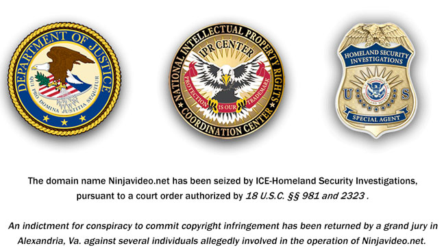 NinjaVideo Domain Seized Screengrab - H