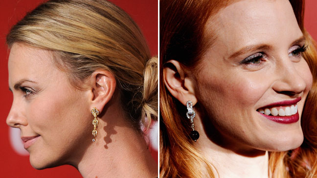 Charlize Theron Jessica Chastain Palm Spring Earrings Split - H 2012