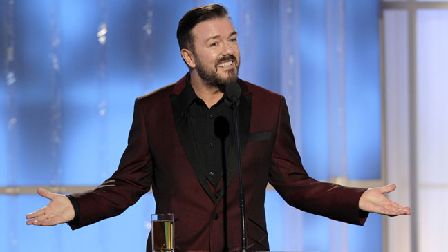 Ricky Gervais Golden Globe Awards Stage - H 2012