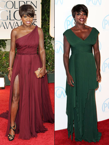 Viola Davis Golden Globe PGA Dress Split - P 2012