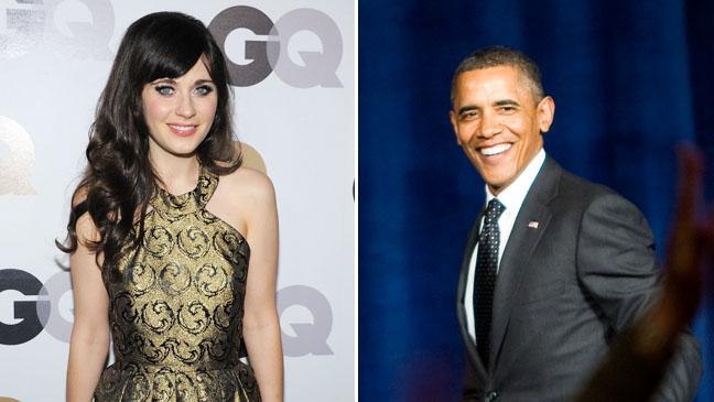 Zooey Deschanel Obama Split - H 2012