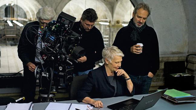 007 Judi Dench with crew on set - H 2012