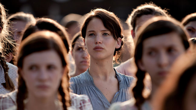 Jennifer Lawrence as Katniss in the Crowd at the Reaping
