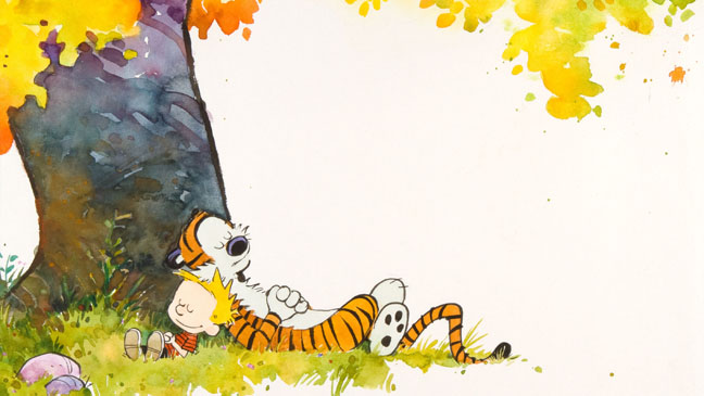 Bill Watterson calvin and hobbes under tree - H 2012