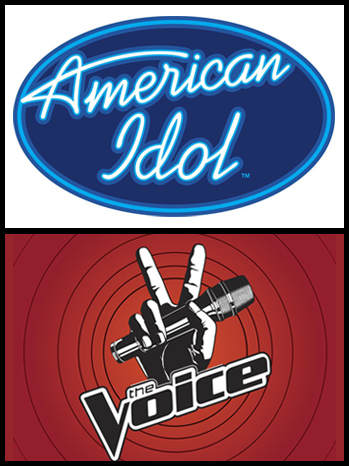 American Idol The Voice logos split P