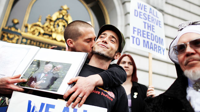 Prop 8 February 7 2012 Male Couple Kiss - H 2012
