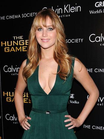 Jennifer Lawrence Green Frock - P 2012
