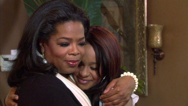 Oprah Bobbi Christina OWN Interview Hug - H 2012