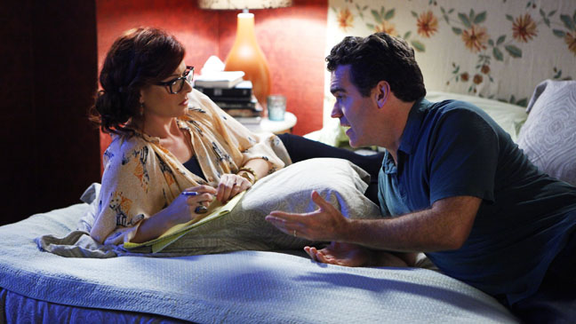 Smash Brian d'Arcy James Debra Messing on bed - H 2012