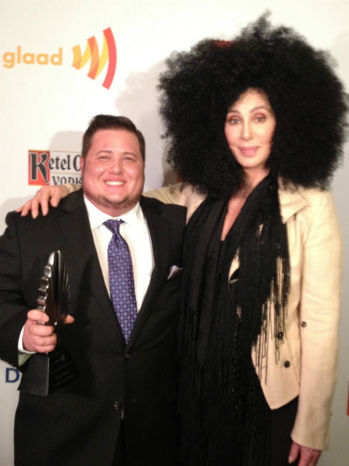 Chaz Bono and Cher at the 23rd GLAAD Media Awards
