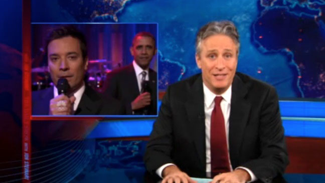 Jon Stewart Jimmy Fallon Obama - H 2012